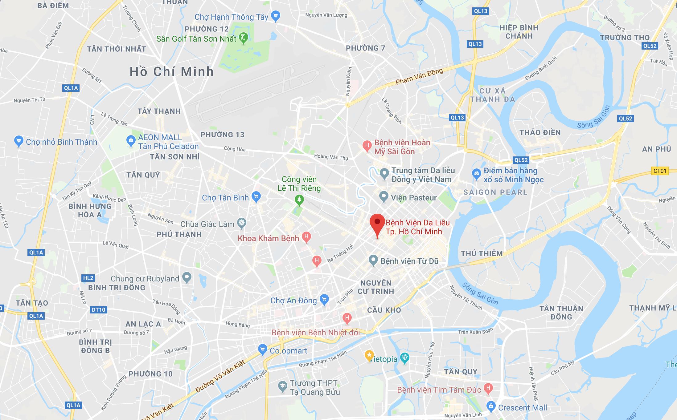 Bản đồ Bệnh viện Da liễu TPHCM