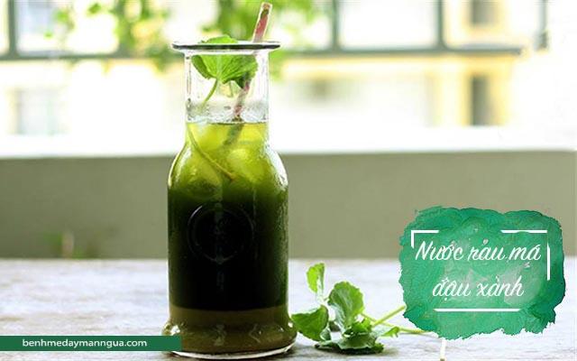 nước rau má đậu xanh chữa mẩn ngứa mụn nhọt