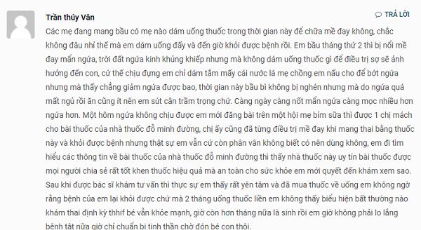 Chia sẻ của chị Trần thùy Vân về hiệu quả của bài thuốc