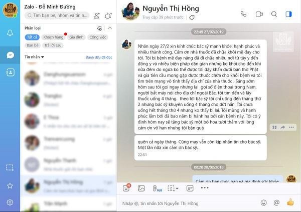Chia sẻ của chị Nguyễn Thị Hồng về hiệu quả bài thuốc