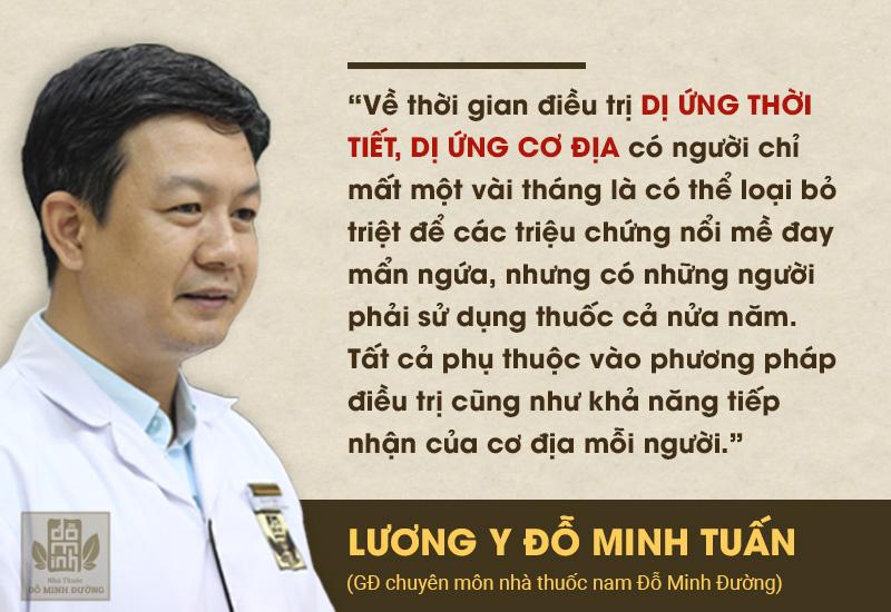 Tư vấn của lương y Đỗ Minh Tuấn về thời gian điều trị dị ứng thời tiết, nổi mề đay